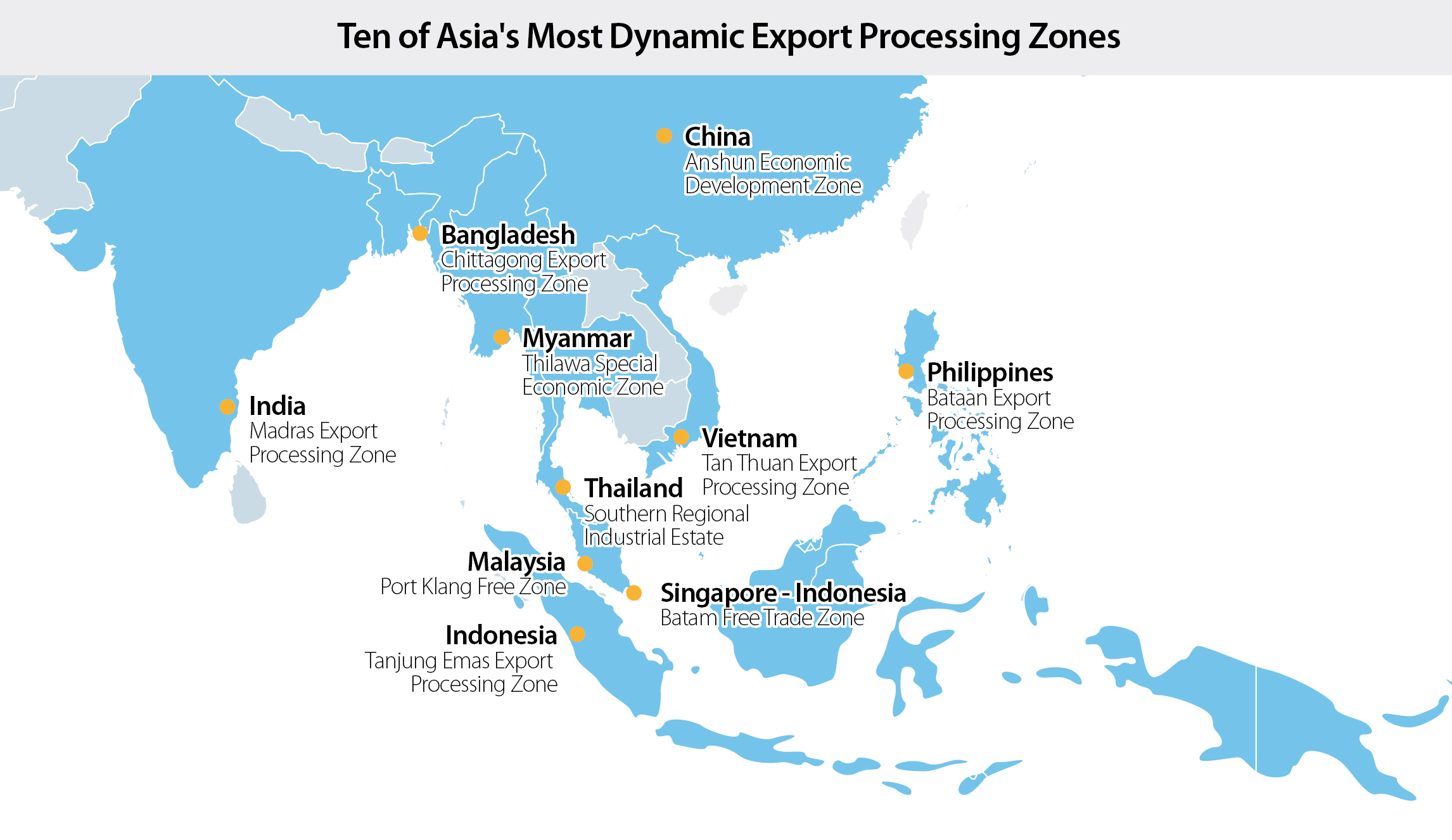 Ten Of Asias Most Dynamic Export Processing Zones That Youve - Economic zones southeast asia map