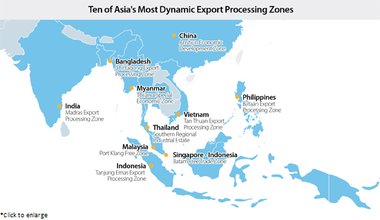 Zehn Der Dynamischsten Asiatischen Exportzonen