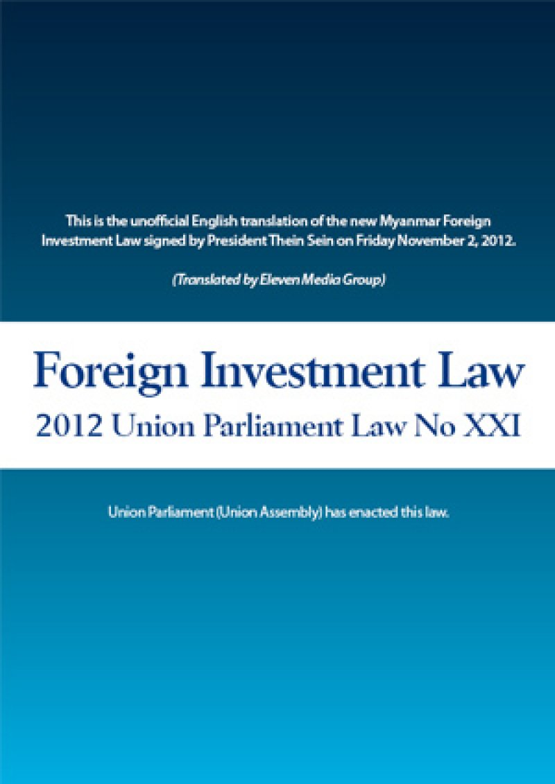 Myanmar foreign investment law full text times asia pacific investment limited company